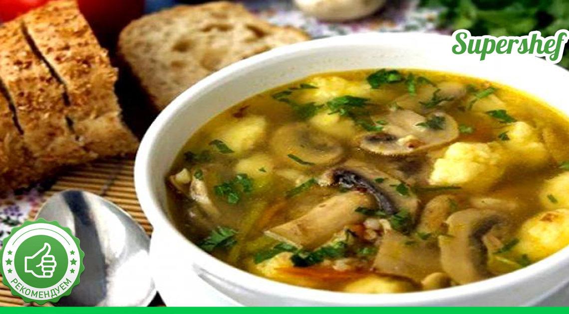 Суп с гречкой, грибами и кнедликами из картофеля
