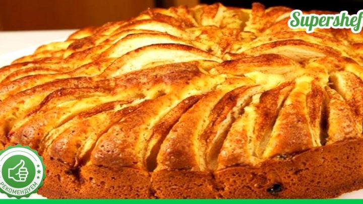 Яблочный пирог на сметанной основе, быстро и вкусно