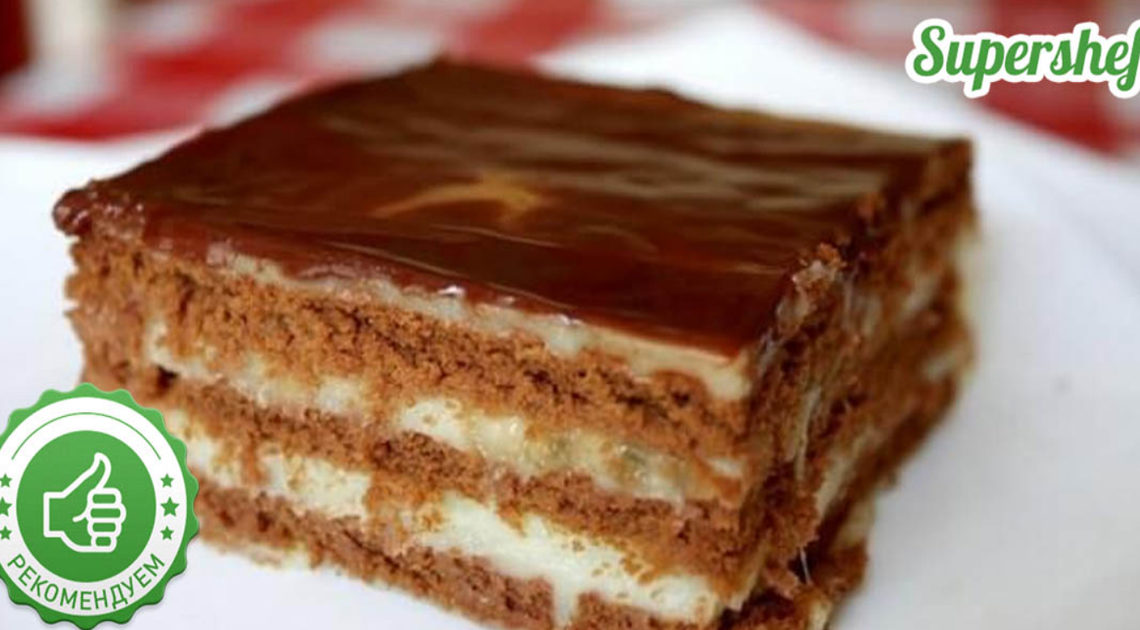 Шоколадно-бананового торт без выпечки за 15 минут