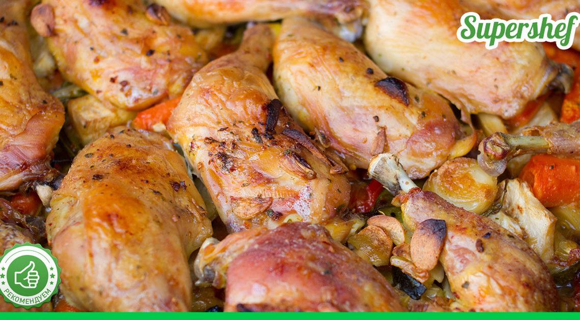 Вкусное и простое блюдо — готовим курицу с овощами в духовке
