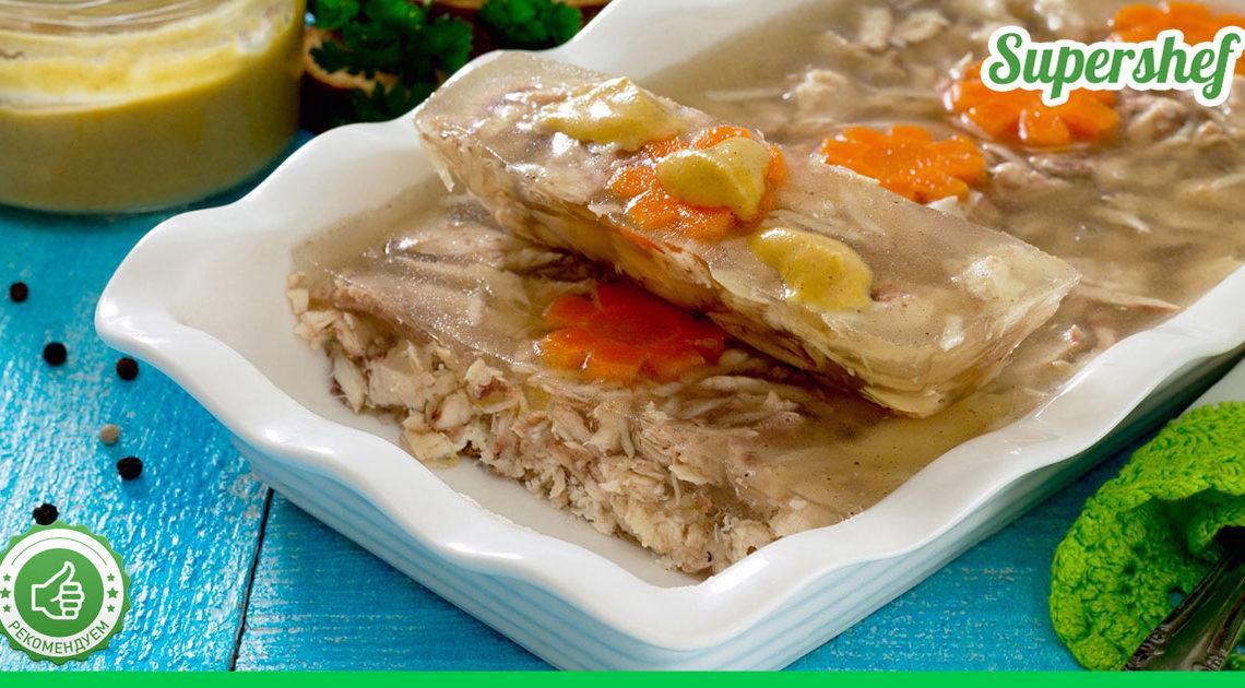 Как приготовить холодец из куриного мяса и свиных голяшек