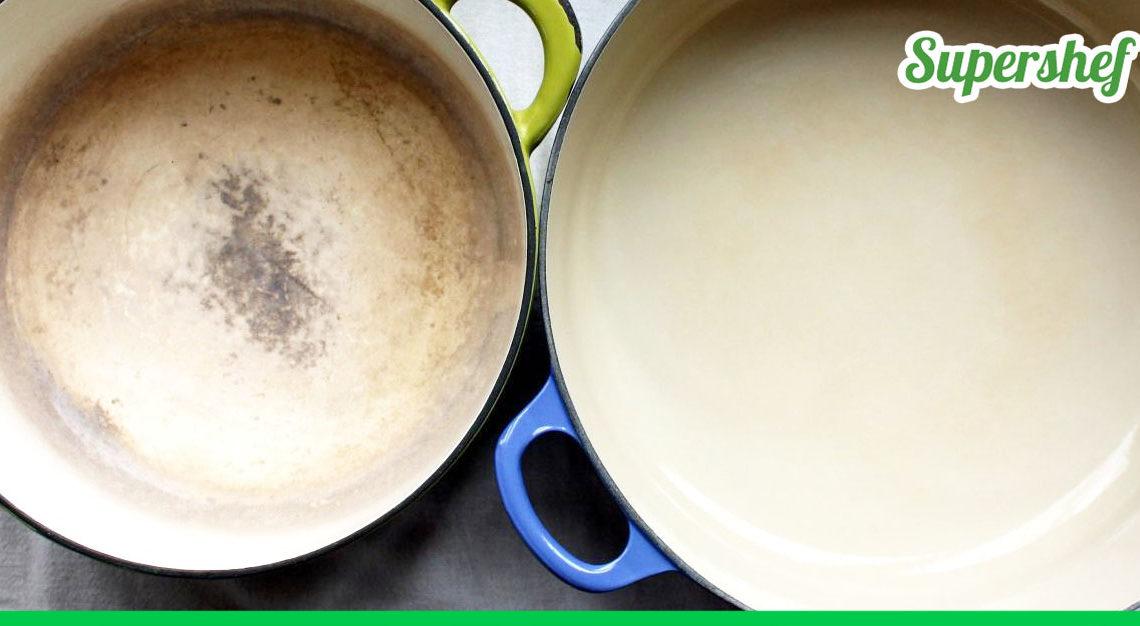 Действенный и довольно легкий способ очистки эмалированной посуды