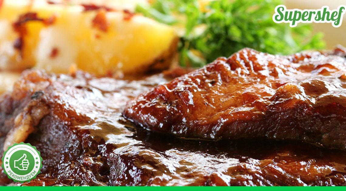 Рецепт запеченных свиных ребрышек в сладком соусе