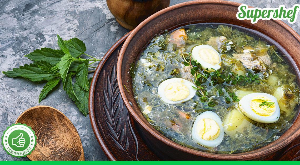 Рецепт украинского зеленого борща со щавелем и яйцами