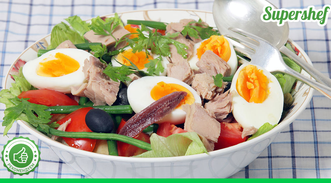 """Ресторанный салат """"Нисуаз"""" на домашней кухне"""